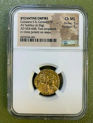 CONSTANS II & Constantine IV Ancient Byzantine Gold Solidus Coin CH MS 5/5 5/5