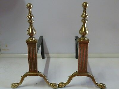 Antique Vintage A Pair Solid Brass Fire Dogs Fireside Rests Metal Andrion Large