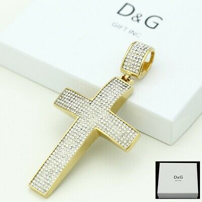 DG Men's Gold Stainless-Steel JESUS CROSS 81mm CZ Big Pendant*BOX