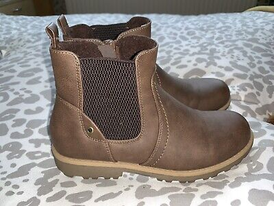 F&F Girls Ladies Tan Brown Flat Chelsea Ankle Boots Brand New Size 4 (37)