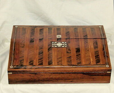 Exceptional Quality Rosewood and Satinwood Banded Antique Lap Desk .. C1830