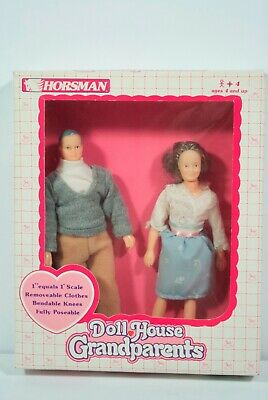 """Horsman Doll House Family GRAND PARENTS #6006-1 Playing For Keeps 6"""" Man Woman"""