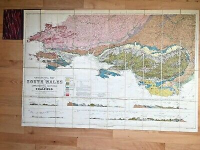 Antique Geological Map of South Wales with coalfields c.1920