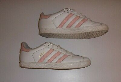 Girls/Women's  ADIDAS GAZELLE TRAINERS - Size UK 3 - White & Pink Leather