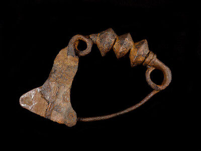 Greek Iron Age Bow Brooch with Three Graduated Bulbs Decorations. Heavy