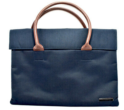 DPark Oxford Cloth and Leather Laptop Case Bags for 13 inch Blue Brown