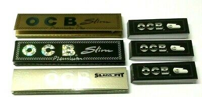 3 x OCB SILVER GOLD BLACK SLIM FIT KING SIZE ROLLING PAPERS with 3 x OCB ROACHES
