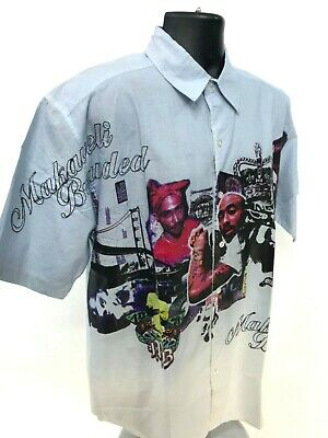 NEW MAKAVELI BRANDED Button Shirt Tupac Song Lyrics Front Hand