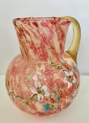 Antique Cranberry Glass Pitcher White Silver Handpainted Flowers Moser Beauty