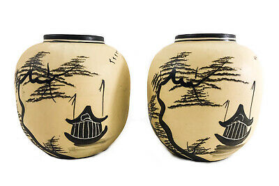 Small Pair Japanese Bisque Porcelain Pottery Vases w/ Hand Painted Pagoda Scene
