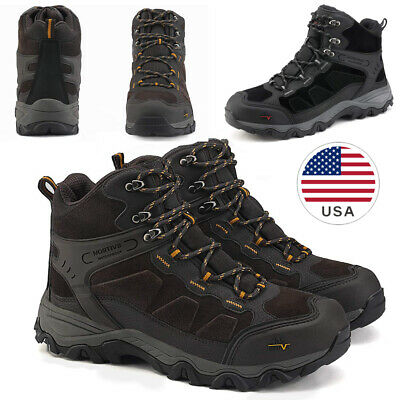 NORTIV 8 Men's Waterproof Genuine Leather Hiking Backpacking Outdoor Work Boots