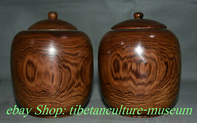 "6"" Old Huali Pear Wood Chinese Carving Dynasty Palace Tea Canister Caddy Pair"