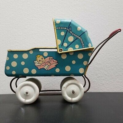 WYANDOTTE Antique Vintage Tin Metal Baby Buggy Carriage 1930/1940s Doll Toy Nice