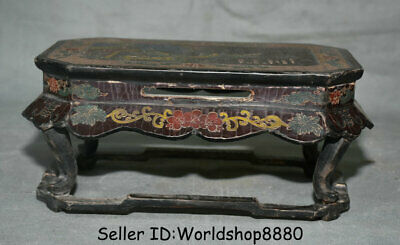 """10"""" Antique Old Chinese Wood Lacquerware Painting Dynasty Pine Tree Table Desk"""