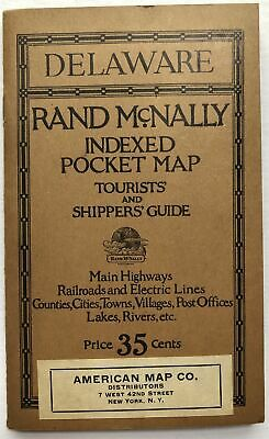 Rand McNally / Indexed Pocket Map Tourists' and Shippers' Guide of Delaware