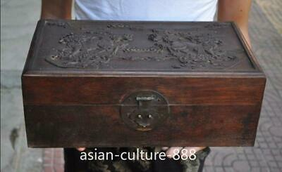 """13"""" Chinese Huanghuali wood carving Kylin Chi-lin Qilin Beast statue Jewelry Box"""