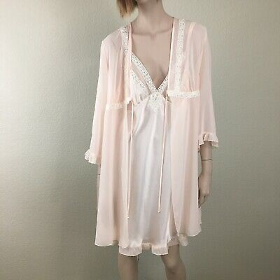 Vintage ENCHANTING 2-pc Blush Pink Chiffon Nightie Nightgown Lingerie Size L