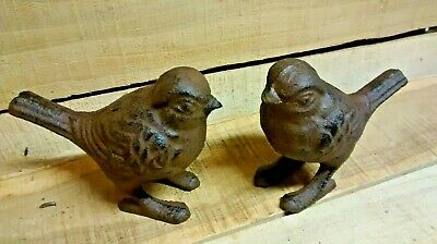 2 Cast Iron WHIMSICAL STANDING LOVE BIRDS brown in color