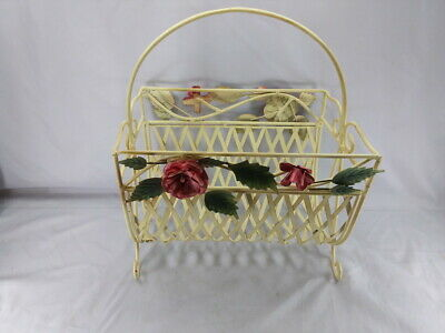 Vintage Rare Italian Tole Magazine Rack Exc Cond Shabby Chic Red Roses