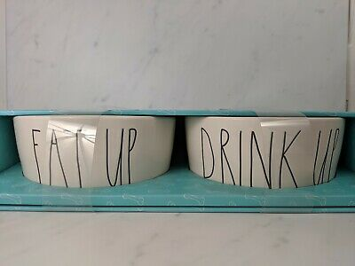 Rae Dunn EAT UP & DRINK UP  8 Inch Round Pet Bowls Set of 2 Brand New
