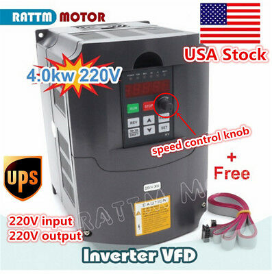 4KW 220V 5HP 18A PWN Variable Frequency Drive Converter VFD Inverter+Cables〖USA〗
