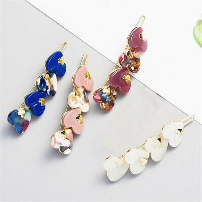Fashion Girls Acetic Acid Long Hair Clips Love Heart Hairpin Snap Barrette Gift