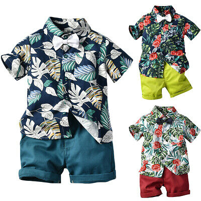 US Toddler Kid Baby Boy Clothes Outfit Sets Beach Leaves Shirt Tops Shorts Pants