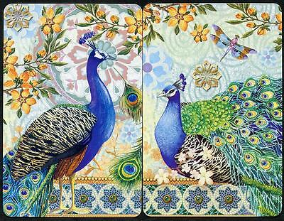 Punch Studio Blue Pea Fowl Birds In Forest Swap Cards (New) X2 Pair