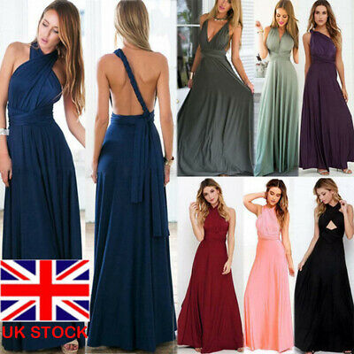 Women's Bridesmaid Formal Multi Way Wrap Convertible Infinity Maxi Long Dress UK