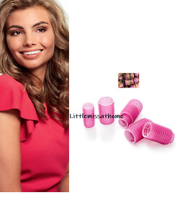 ORIFLAME PACK OF 8 PINK VELCRO HAIR CURLERS 4 large 4 small self grip blow dry
