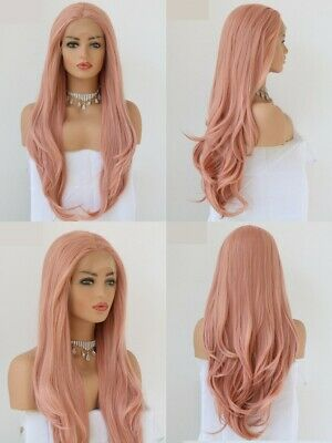 """AU 24"""" Synthetic Hair Cosplay Party Lace Front Wig Natural Straight Smoke Pink"""