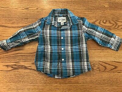 The Childrens Place Baby Boys 12-18 Months Blue Collared Dress Shirt Button Down
