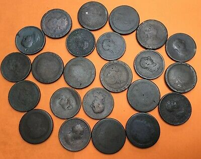 Job Lot X23 Antique George III Low Grade Large Penny Coins #JF2