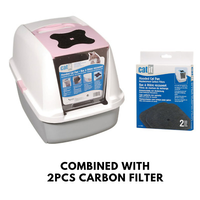Catit Pink, Grey And White Tiger Coloured Cat Litter Box + Free 2 Carbon Filters