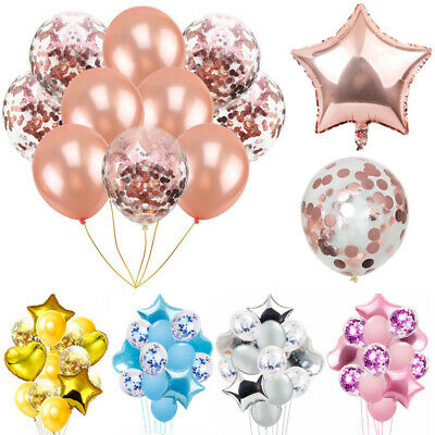 Rose Gold Pink Blue Confetti Latex Balloons Wedding Bridal Shower Birthday Party