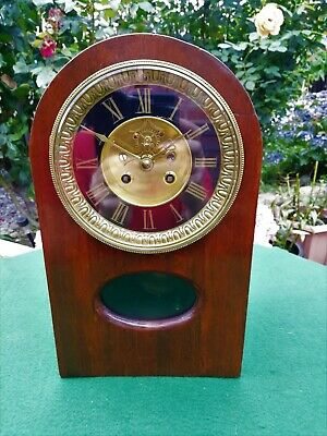 #023 ANTIQUE 19th CENTURY FRENCH MAHOGANY MANTLE CLOCK WITH JAPY FRERES MOVEMENT