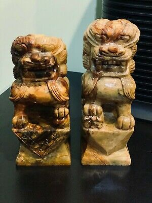 Pair Antique Foo Dog Fu Bookends Hand Carved Granite Chinese TempleGuardianLion