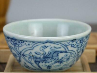 chinese old Blue and white porcelain hand-painted crane Kung fu cup 04349