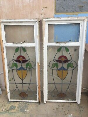Pair Vintage Reclaimed 1950's Original Stained Glass Window Panels in Wood Frame