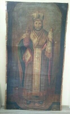 Antique Russian Large Icon Hand-Painted in Canvas St. Nicholas 19th century.