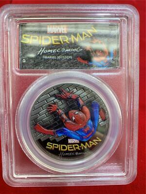 COOK ISLANDS 2017 $5 SPIDER-MAN High Relief Black Proof 1 oz. .999 silver PCGS P