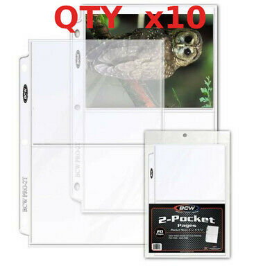 BCW 10 sheets 5x7 5 x 7 Pro 2 Pocket Pages postcards photos ultra storage