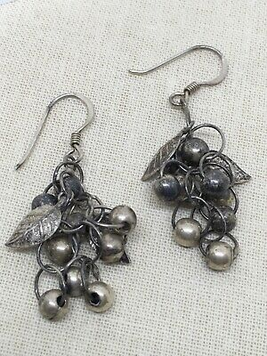 Sterling Silver Vtg Grape Cluster Dangle Earrings 5.25g (1-28)