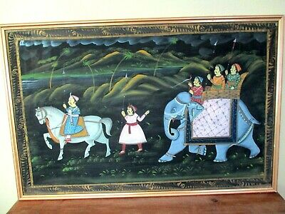 Nice! large INDIA VERY FINE FRAMED OIL PAINTING - Vintage Indian