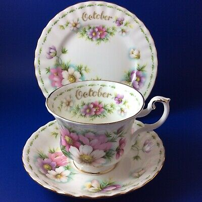 Royal Albert Cosmos - Flower Of The Month - October- Bone China Tea Trio