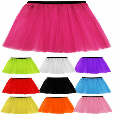 Ladies Womens Girls Hen Adult Plus Neon Tutu Skirt With Two & Three Layers 5 Col