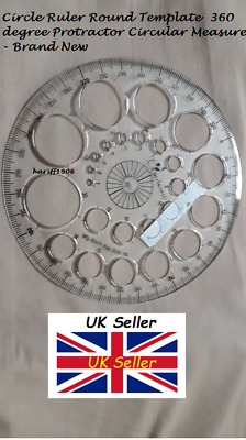 Circle Ruler Round Template 360 degree Protractor Circular Measure