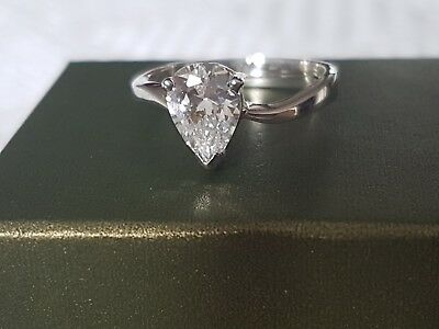 925 Sterling Silver ~ Diamante Cubic Zirconia ~ Adjustable Ring with Box