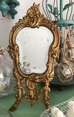 *Antique French Rococo Style Gilt Bronze Boudoir Footed Beveled Vanity Mirror