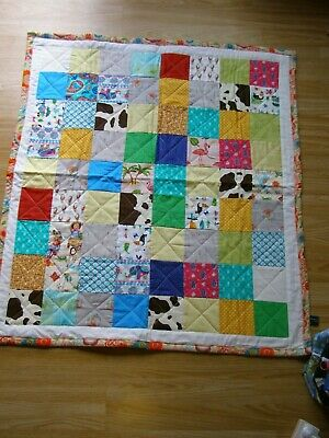 Handmade Quilted Patchwork Baby Quilt Cot / Pram Traditional Square Scrappy Days